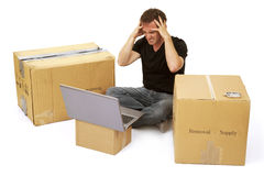Frustrated house mover / new home owner. Internet problems, estate agent problems, computer problems, house problems Royalty Free Stock Images