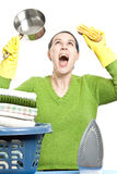 Frustrated housewife Stock Image