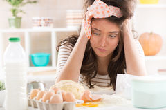 Frustrated housewife Royalty Free Stock Photo
