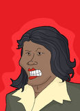 Frustrated Lady Over Red. Frustrated single Black female with clenched teeth Stock Image