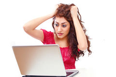 Frustrated laptop girl Royalty Free Stock Photo