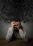 Frustrated. Man and chaos. Stock Photography