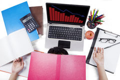 Frustrated man and declining business chart Stock Image