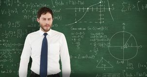 Frustrated man in front of moving maths on blackboard 4k