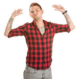 Frustrated Man with Hands Up. Fed up male with spiky hair and hands in the air stock images