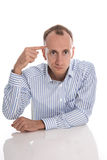Frustrated man - head shot - problems at work. Stock Photo