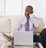 Frustrated Man on Laptop Stock Images