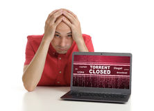 Frustrated man with laptop Stock Photo