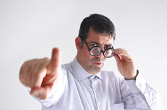 Frustrated man manager shows the way to door Royalty Free Stock Photo