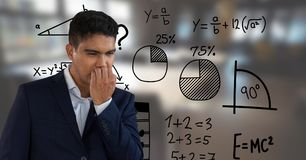 Frustrated man with math background. Digital composite of frustrated man with math background royalty free stock image