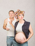 Frustrated Man with Pregnant Woman Royalty Free Stock Photography