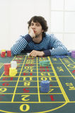 Frustrated Man At Roulette Table Stock Photography