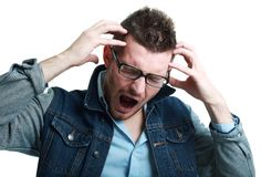 Frustrated man screaming Stock Photography