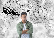 Frustrated man with storm in background. Digital composite of frustrated man with storm in background Stock Image