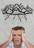 Frustrated man in storm. Digital composite of frustrated man in storm royalty free stock photos