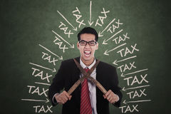 Frustrated man with tax trouble Stock Image