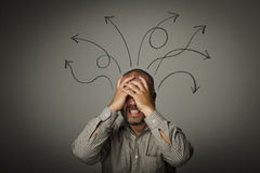 Frustrated. Man in thoughts. stock image