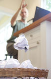 Frustrated man throwing paper Royalty Free Stock Photography