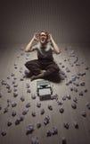 Frustrated man at typewriter Stock Photos