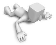 Frustrated man waiting to be rescued. 3D Square Man Series. Royalty Free Stock Photos