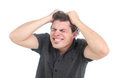 Frustrated man. On a white background stock photos