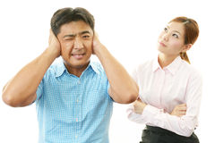Frustrated man and woman Royalty Free Stock Image