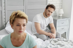 Frustrated married couple had serious quarrel Royalty Free Stock Images