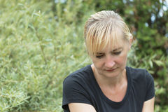 Frustrated middle aged woman Stock Photos