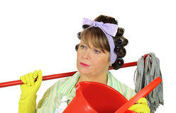 Frustrated Mopping Housewife Royalty Free Stock Photo