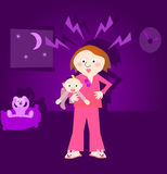 Frustrated mother, crying child. Stressed, frustrated mother holding crying child during night Stock Photos