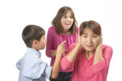 Frustrated from nagging kids. royalty free stock photography