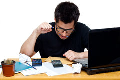 Frustrated nerdy accountant Royalty Free Stock Photography