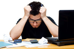 Frustrated nerdy accountant Stock Image