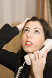 Frustrated Office Worker on Phone Stock Photography