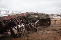 Frustrated old ship lying on the sea Stock Image