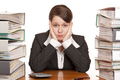 Frustrated overworked business woman in office Stock Photos