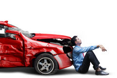 Frustrated person and broken car isolated stock photography