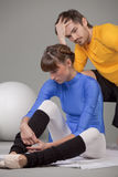 Frustrated personal trainer Stock Image