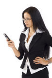 Frustrated Phone Woman. With glasses over white backgound Royalty Free Stock Image