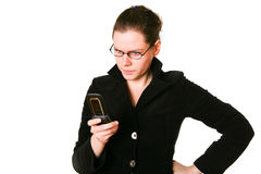 Frustrated Phone Woman. Isolated background Royalty Free Stock Photos