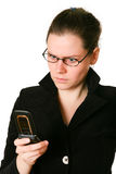 Frustrated Phone Woman. Isolated background Stock Photography