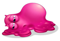 A frustrated pink monster. Illustration of a frustrated pink monster on a white background Stock Image