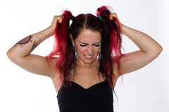 Frustrated Punk Girl Pulls Hair Royalty Free Stock Photography