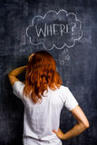 Frustrated redhead woman asking where. At blacboard Royalty Free Stock Photo