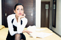 Frustrated Room Maid Stock Image
