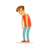 Frustrated sad boy character standing hunched vector Illustration Royalty Free Stock Photos