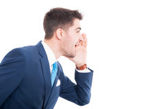 Frustrated salesman in elegant suit and tie screaming royalty free stock photos