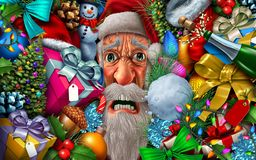 Frustrated Santa Claus. And christmas pressure or winter holiday season santaclause headache with 3D illustration elements stock illustration