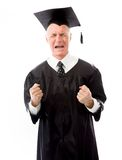 Frustrated senior male graduate screaming Royalty Free Stock Photography