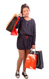 Frustrated shopping girl Stock Images